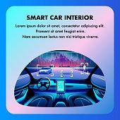 Smart Car Cockpit Interior. Vector Flat Cartoon.