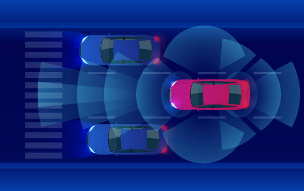 smart car hud, autonomous self-driving mode vehicle on metro city road iot concept with graphic sensor radar signal system and internet sensor connect. - self driving cars stock illustrations, clip art, cartoons, & icons