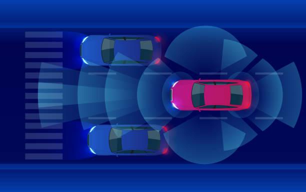 スマートな車 hud、地下鉄都市道路 iot 論グラフィック センサー レーダー信号システム、ネット センサー、自律型自動運転モード車両に接続します。 - 自動運転車点のイラスト素材/クリップアート素材/マンガ素材/アイコン素材
