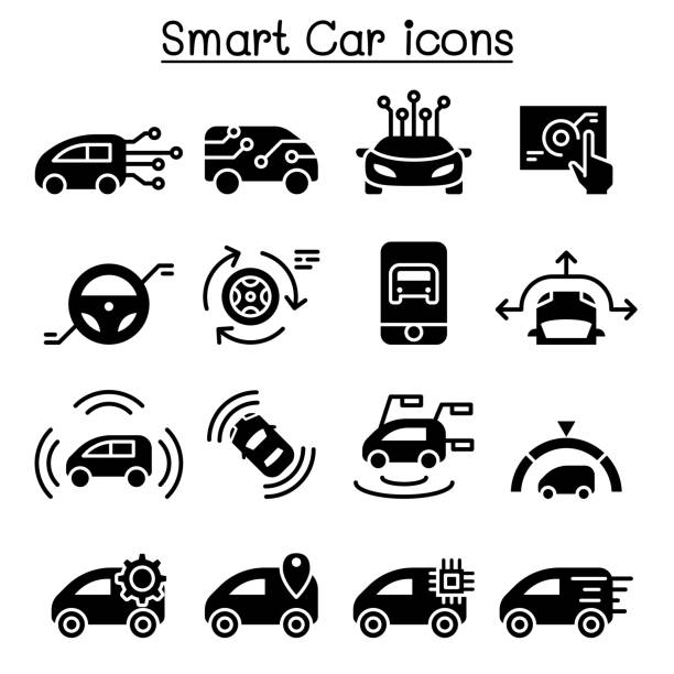 smart car icons set - в пути stock illustrations