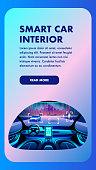 Smart Car Interior. Vertical Vector Banner View.