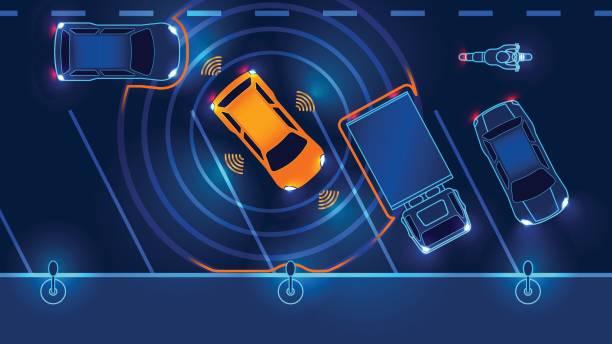 smart auto automatisch geparkt - sensorischer impuls stock-grafiken, -clipart, -cartoons und -symbole