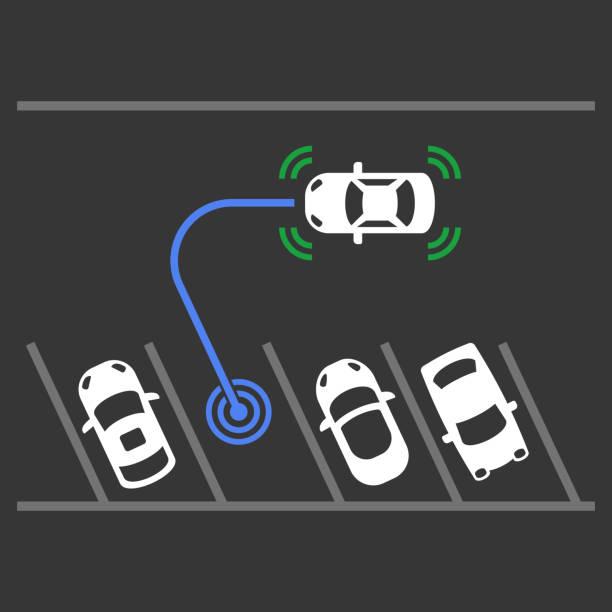 スマート車駐車支援システム。平面図です。ベクトル - リモート点のイラスト素材/クリップアート素材/マンガ素材/アイコン素材