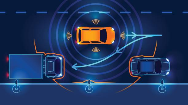smart auto parking assist system - sensorischer impuls stock-grafiken, -clipart, -cartoons und -symbole