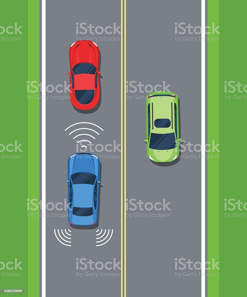 Smart car, safety. Remote sensing system of vehicle vector art illustration