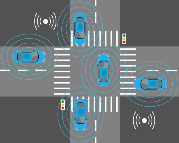 スマートな車のセンサー - 自動運転車点のイラスト素材/クリップアート素材/マンガ素材/アイコン素材