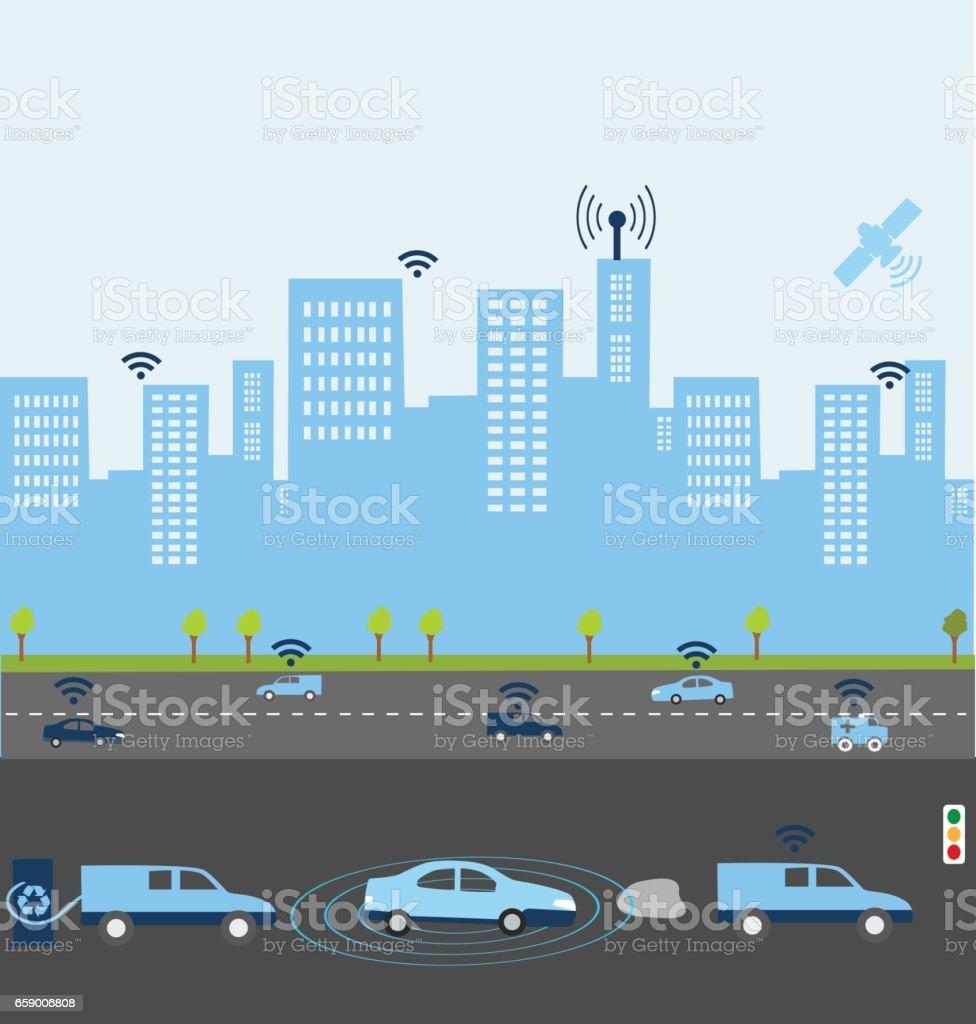 Smart Car systems vector art illustration