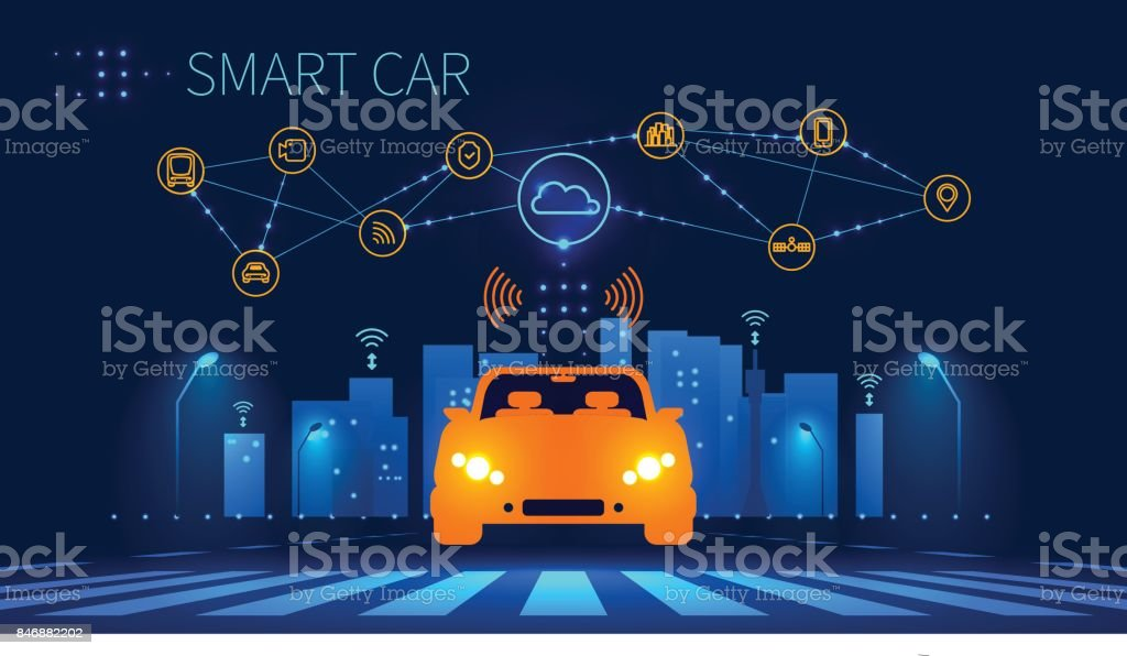 Smart car wireless network connection with smart city vector art illustration