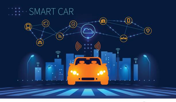 Smart car wireless network connection with smart city Smart car wireless network connection with smart city. Smart vehicle and automotive technology. Icons of city infrastructure. Taxi Future concept. Vector illustration. airport designs stock illustrations