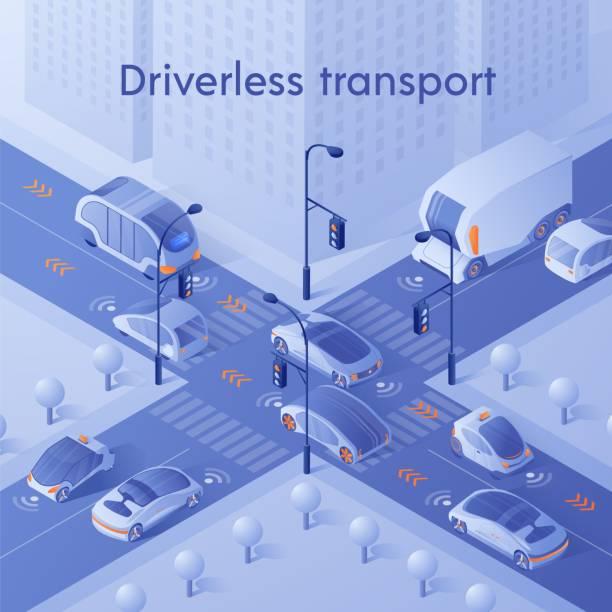 ilustraciones, imágenes clip art, dibujos animados e iconos de stock de coches inteligentes que conducen en el tráfico de la ciudad en la encrucijada - vehículos sin conductor