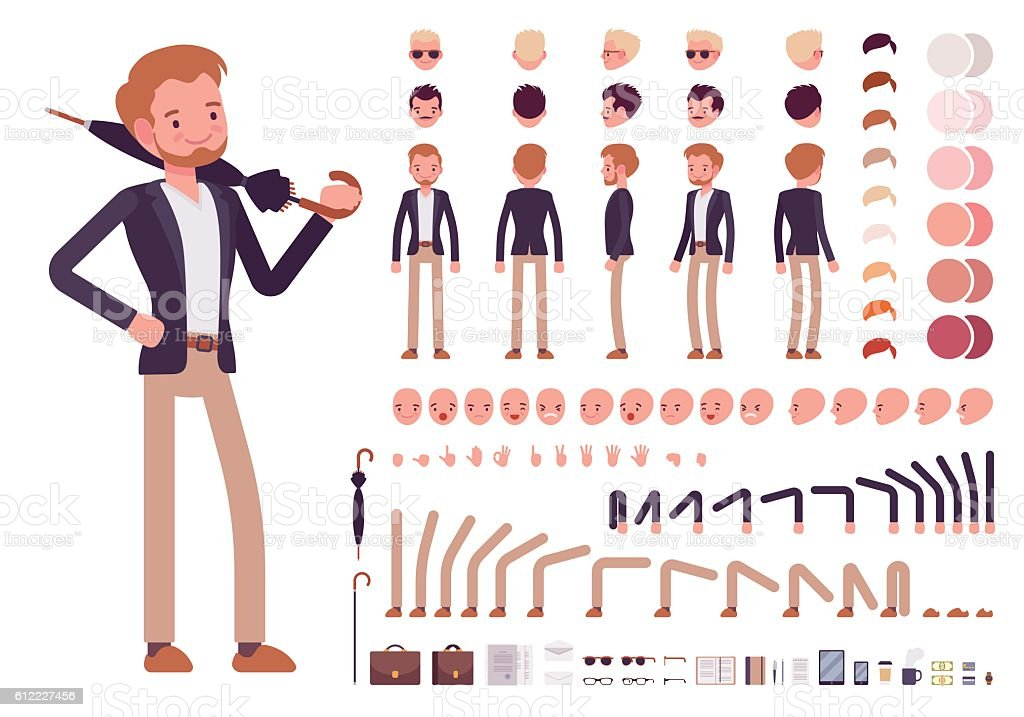 Smart casual male character creation set - ilustración de arte vectorial