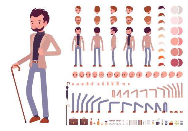 smart casual male character creation set - preppy fashion stock illustrations, clip art, cartoons, & icons