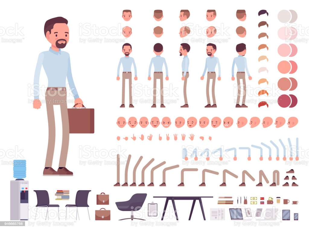 Smart casual man character creation set royalty-free smart casual man character creation set stock illustration - download image now