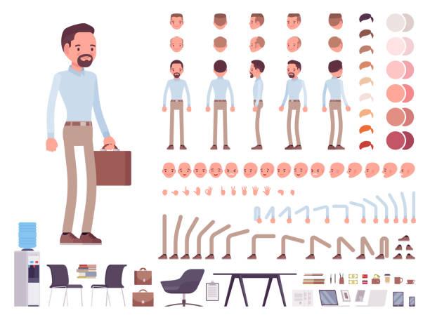 stockillustraties, clipart, cartoons en iconen met slimme casual man creatie tekenset - schepping
