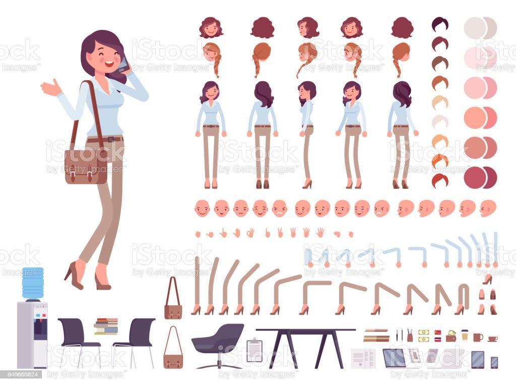スマート カジュアルな女性文字作成セット ロイヤリティフリースマート カジュアルな女性文字作成セット - 1人のベクターアート素材や画像を多数ご用意