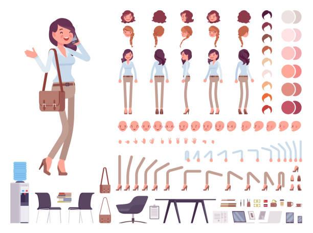 inteligentny zestaw do tworzenia postaci dla kobiet na co dzień - grupa przedmiotów stock illustrations