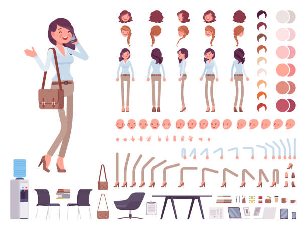 stockillustraties, clipart, cartoons en iconen met smart casual vrouw creatie tekenset - karakters