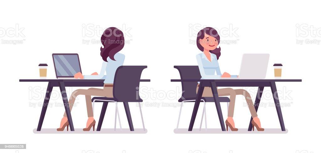 Mulher casual inteligente sentado e trabalhando - ilustração de arte em vetor