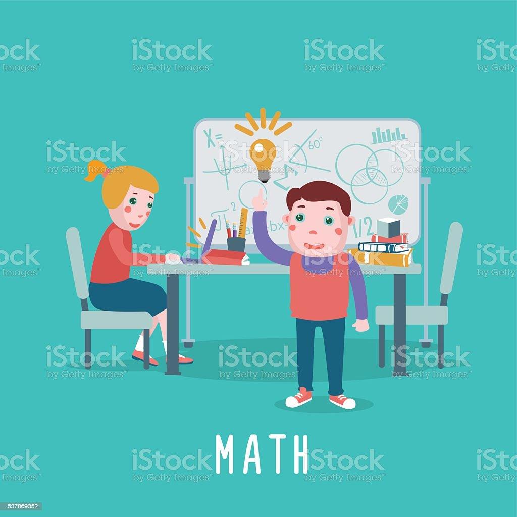 Smart Children Kids Are Studing Math In A Classroom Stock Vector Art ...