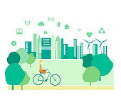 Green,smart city view ,technology ,green energy ,people,bicycles,eco