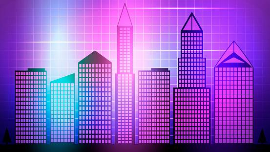 Smart City 3d Neon Glowing Cityscape. Intelligent Building Automation Night Futuristic Web Online Vivid Color Cyberpunk Retrowave. Vector Illustration