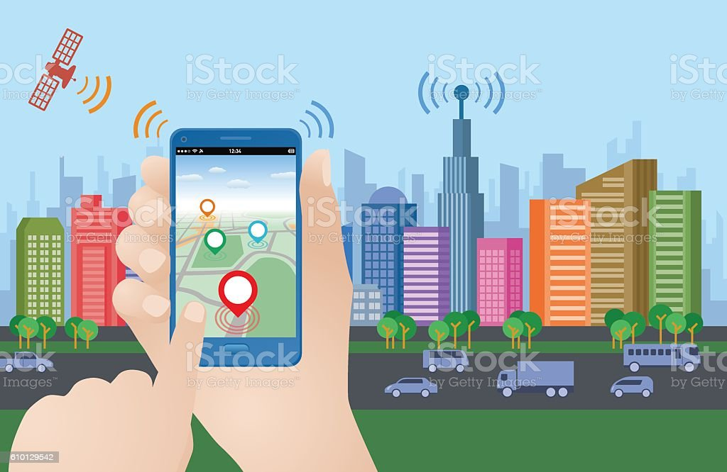 smart city and smart phone application using location information vector art illustration