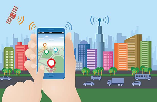 smart city and smart phone application using location information - smart city stock-grafiken, -clipart, -cartoons und -symbole