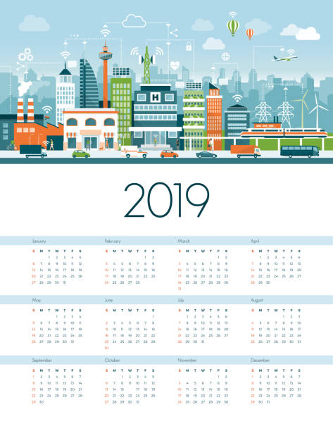 Smart city and sustainability calendar 2019 Smart city and sustainability calendar 2019: metropolitan city connected with factories, power plant and vehicles augmented reality sustainable stock illustrations