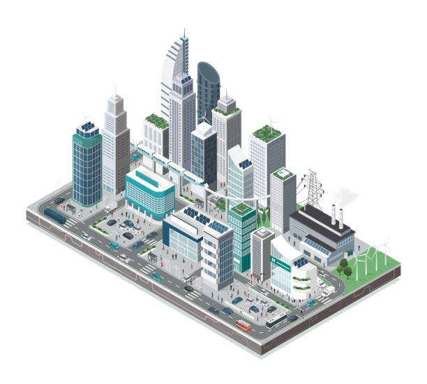 Smart city and technology Smart city with skyscrapers, people and transport on white background, innovation and urban technology concept smart city stock illustrations