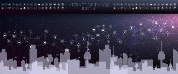smart-city und drahtlose kommunikationsnetz, abstraktes bild visuell, internet der dinge - turm bauwerk stock-grafiken, -clipart, -cartoons und -symbole