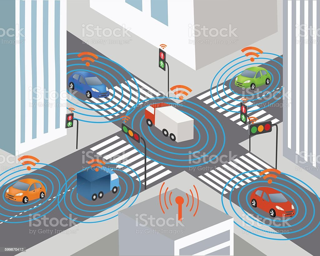 Smart city and Wireless network of vehicle vector art illustration