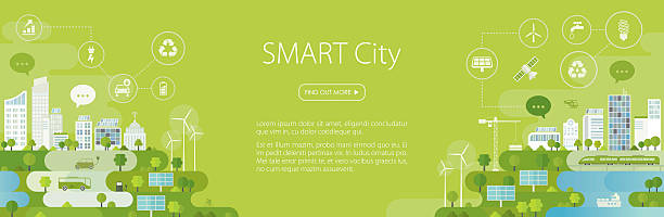smart city banner - energy saving stock illustrations, clip art, cartoons, & icons