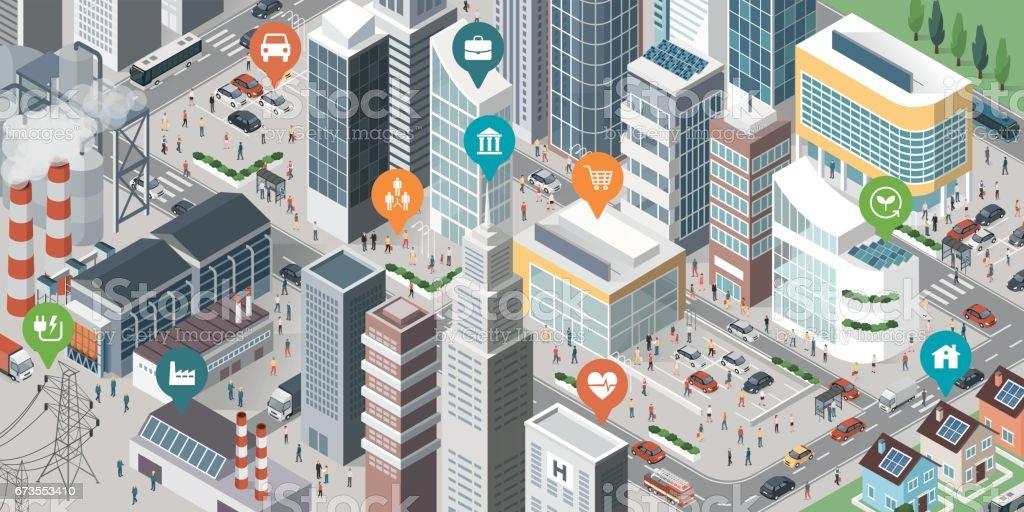 Smart city banner - ilustração de arte em vetor