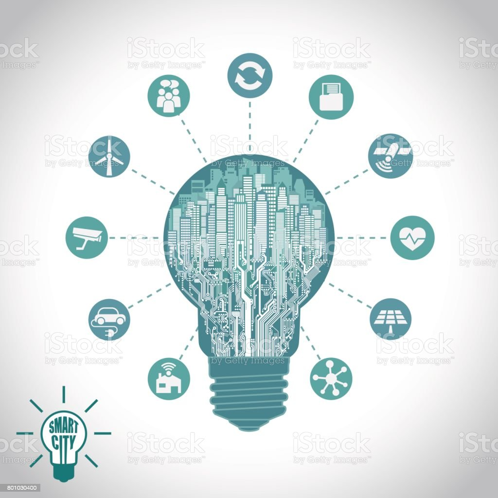 Smart City Cityscape In Silhouette Light Bulb With Advanced Circuit Board Background Vector Ai Free Graphics Download Services The Internet Of