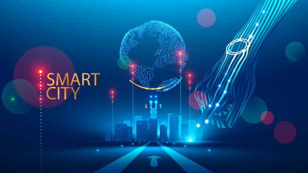 ilustrações, clipart, desenhos animados e ícones de comunicação de smart city com rede global e infra-estrutura urbana. tecnologia de conexão sem fio no meio social de estilo de vida. rede de comunicação transmitir informações através da internet das coisas. - mobile