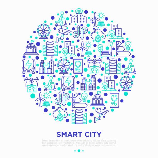 smart city-konzept im kreis mit dünnen linie symbole: grüne energie, intelligente urbanism, effiziente mobilität, null emissionen, elektrische, ausgewogene verkehr, cctv. vektor-illustration, print-medien-vorlage. - smart city stock-grafiken, -clipart, -cartoons und -symbole
