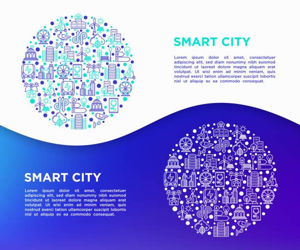 smart city-konzept im kreis mit dünnen linie symbole: intelligente urbanism, effiziente mobilität, null emission, elektromobilität, verkehr, cctv ausgeglichen. vektor-illustration, print-medien-vorlage. - smart city stock-grafiken, -clipart, -cartoons und -symbole