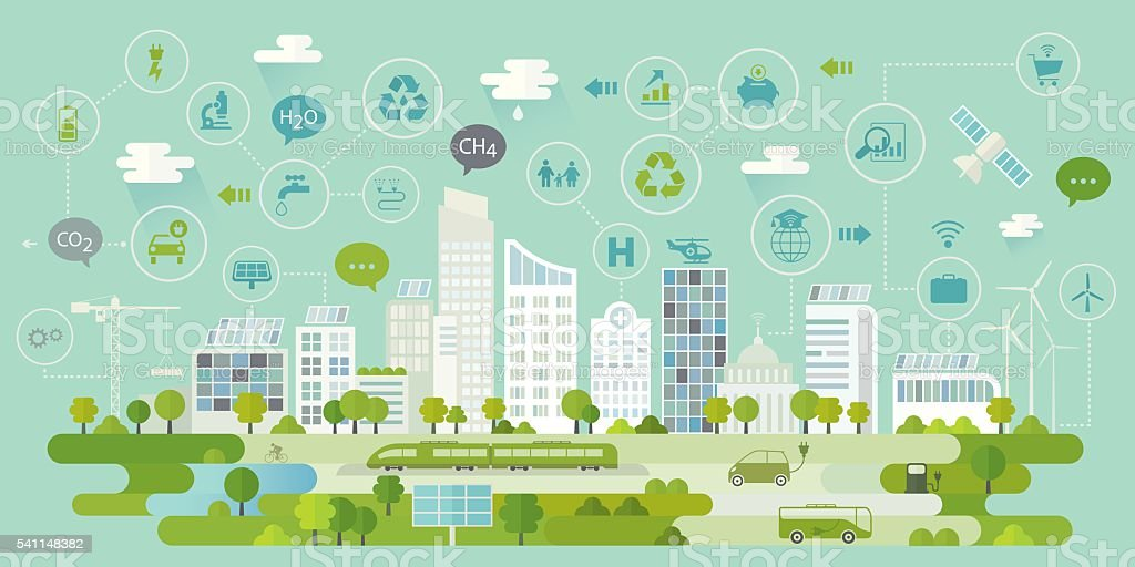 Smart City Concept Including Icons Set vector art illustration