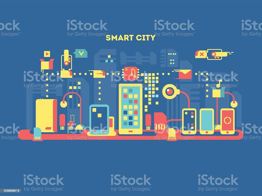 Smart city concept vector art illustration