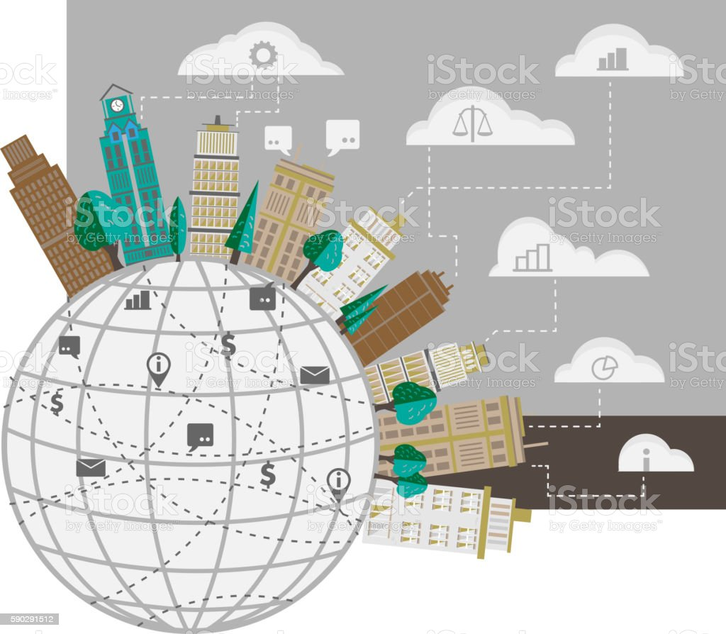 Smart city concept. royaltyfri smart city concept-vektorgrafik och fler bilder på byggnadsexteriör