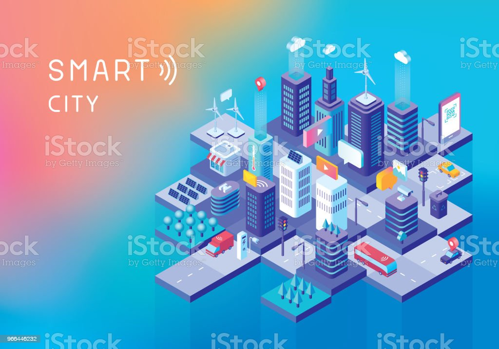 Smart city concept vector art illustration