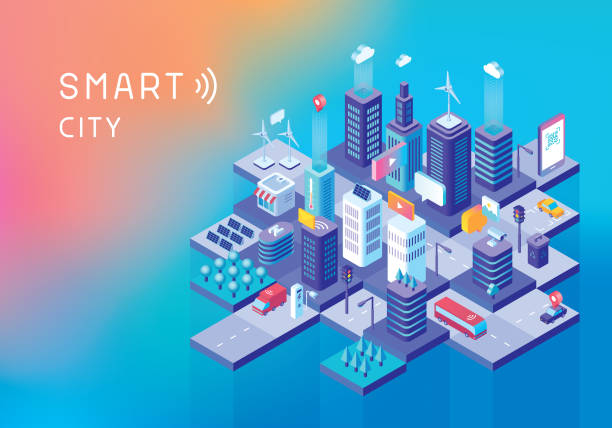 stockillustraties, clipart, cartoons en iconen met smart city concept - isometric