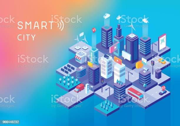 Smart City Concept - Arte vetorial de stock e mais imagens de Ao Ar Livre