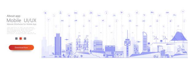 smart-city-konzept mit verschiedenen iot-symbol. verbundene geräte und objekte. illustration von innovationen und internet der dinge. smart city. dünnes stadtbild mit wolkenkratzern. stadtpanorama. vektor - smart city stock-grafiken, -clipart, -cartoons und -symbole