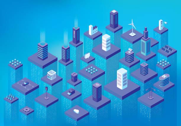 smart-city-datenfluss - smart city stock-grafiken, -clipart, -cartoons und -symbole