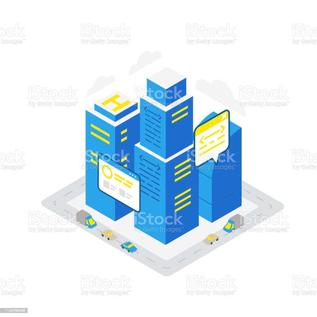 Smart city data server isometric building. Hosting technology...