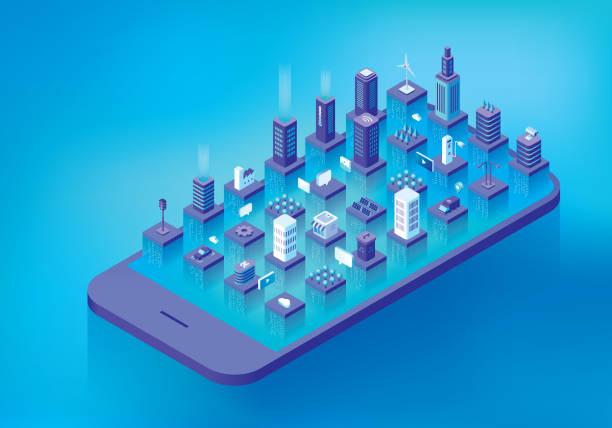 smart-city-datenstrom - smart city stock-grafiken, -clipart, -cartoons und -symbole