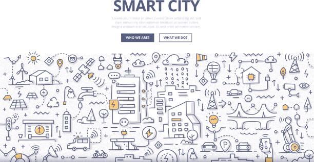 smart city-doodle-konzept - smart city stock-grafiken, -clipart, -cartoons und -symbole