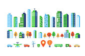 Smart city elements with modern buildings and network connection for graphics design. Vector illustration