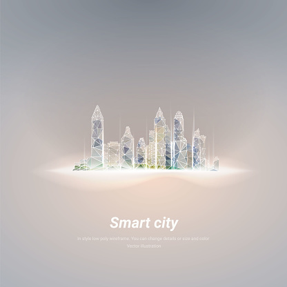 Smart city emirates silhouette.In style low poly wireframe isolated on nude background. Polygonal space low poly with connected dots and line
